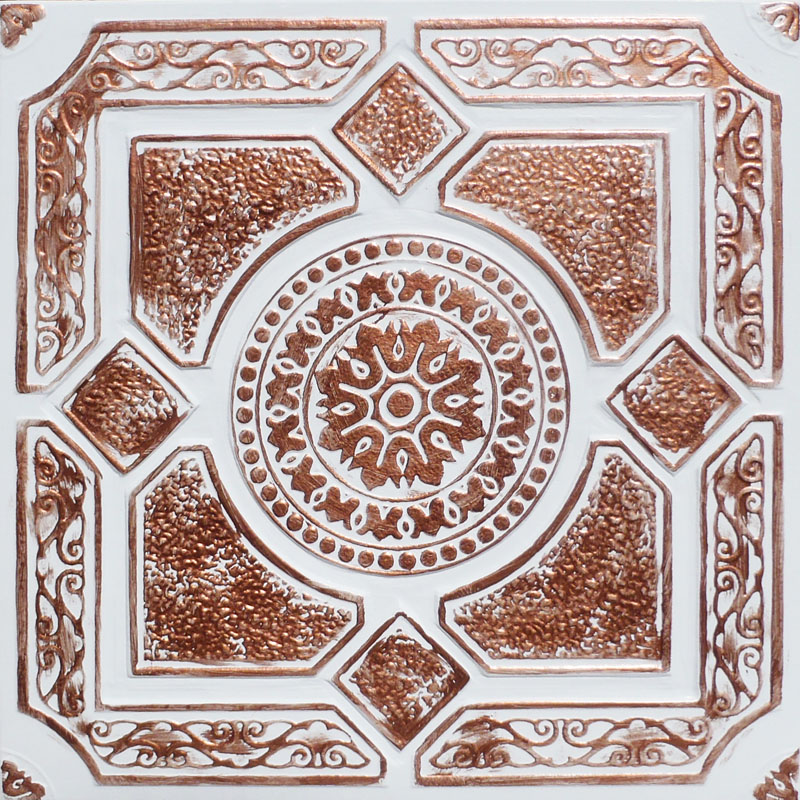 20x20 Quot Lima Accent Copper White Pvc 20mil Ceiling Tiles
