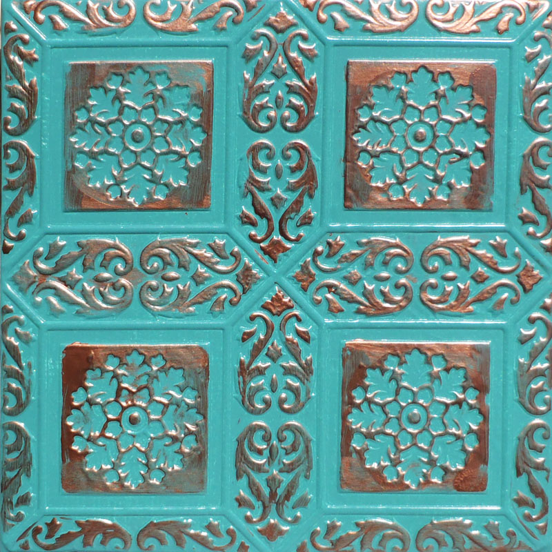 20x20 Ankara Accent Copper Patina Pvc 20mil Ceiling Tiles Antique Ceilings Glue Up And Drop In Grid