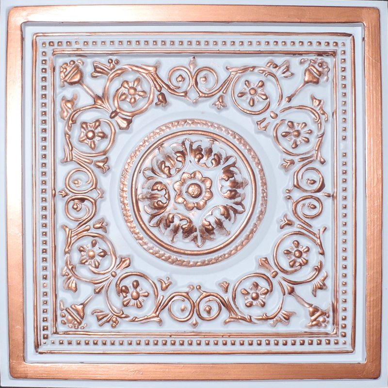 Pvc Ceiling Tiles : Quot x majesty accent copper white pvc mil ceiling