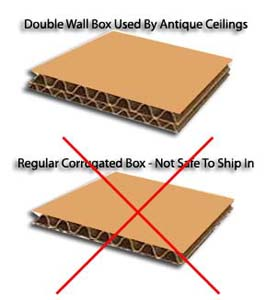 Antique Ceilings uses double wall box to ship decorative ceiling tiles safely